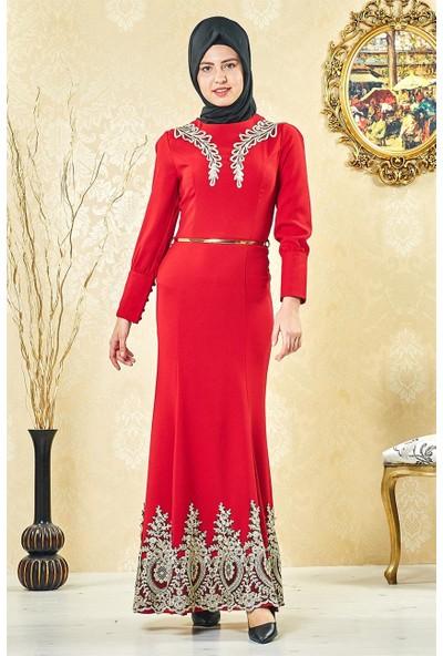 Lady Nur Abiye Elbise-Kırmızı 3000-34