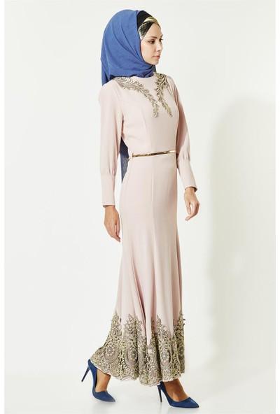 Lady Nur Abiye Elbise-Pudra 3000-41
