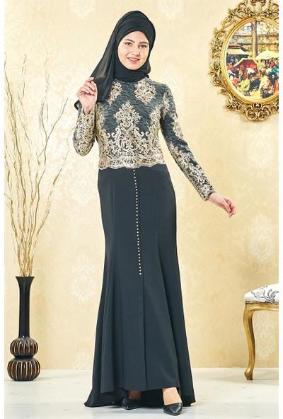 Lady Nur Abiye Elbise-Siyah 3001-01