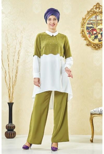 Lady Nur Pantolonlu Takım-Fıstık Yeşili 9053-23