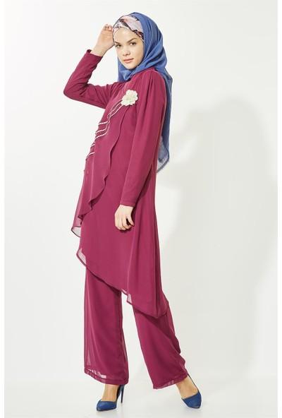 Lady Nur Pantolon Takım-Mürdüm 9009-51