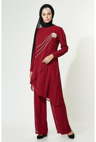 Lady Nur Pantolon Takım-Bordo 9009-67