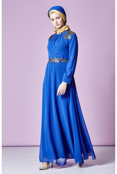 Lady Nur Güpür Detaylı Abiye Elbise-Saks 3010-47
