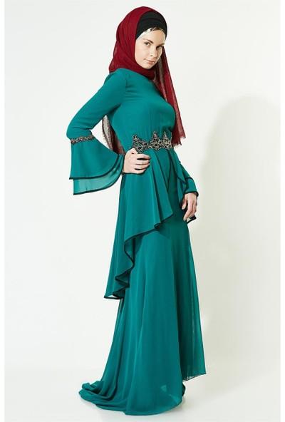 Lady Nur Güpür Detaylı Abiye Elbise-Yeşil 3012-21