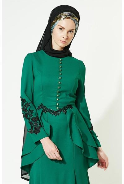 Lady Nur Abiye Elbise-Yeşil 3008-21