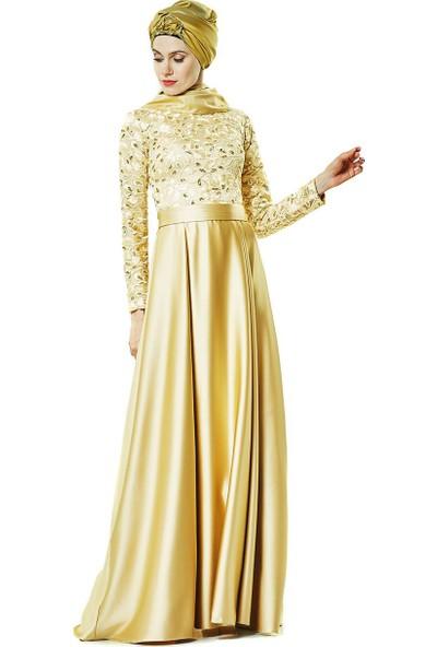 Fashion Night Abiye Elbise-Gold 2145-93