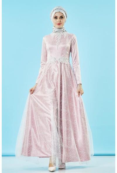 Fashion Night Tül Detaylı Abiye Elbise-Pudra 2149-41