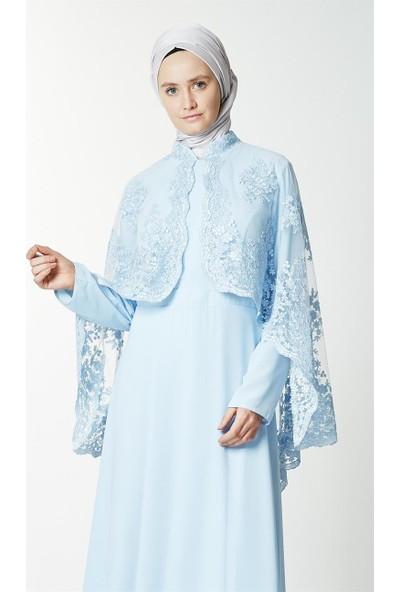 Fashion Night Güpürlü Abiye Elbise-Açık Mavi 2183-15