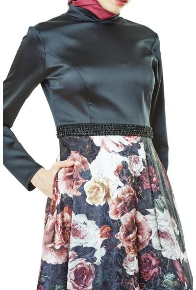 Fashion Night Çiçek Desenli Abiye Elbise-Siyah 2196-01