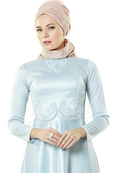 Fashion Night Simli Abiye Elbise-Bebek Mavisi 2300-118