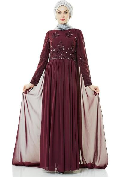 Fashion Night Abiye Elbise-Mürdüm 2140-51