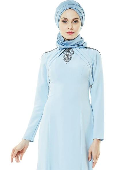 Fashion Night Omuz Detaylı Abiye Elbise-Buz Mavi 2230-14