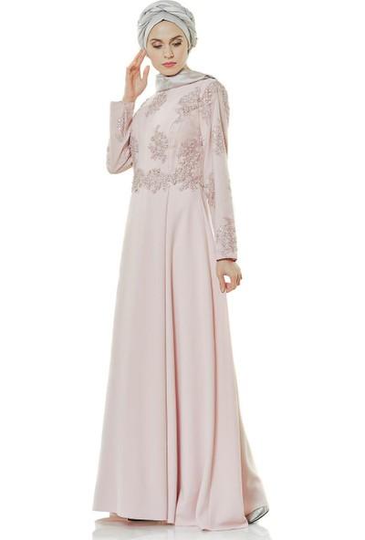 Fashion Night Güpürlü Abiye Elbise-Pudra 4179-41