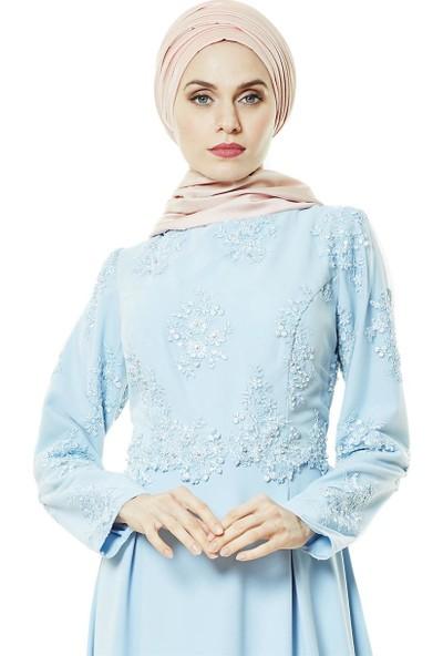 Fashion Night Güpürlü Abiye Elbise-Buz Mavisi 4179-14