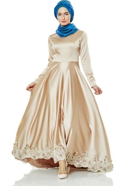 Fashion Night Güpür Detaylı Abiye Elbise-Bej 2270-11