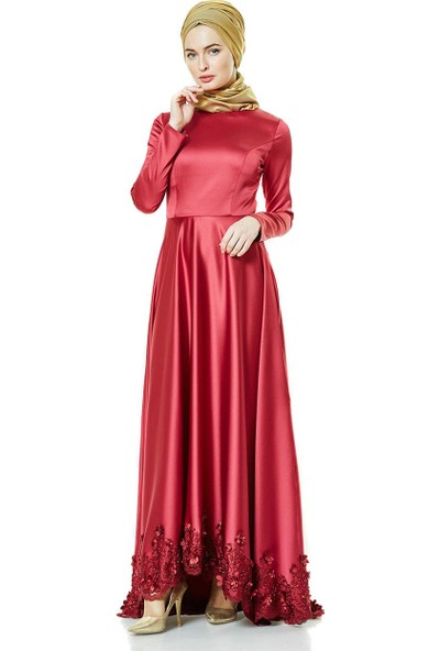 Fashion Night Güpür Detaylı Abiye Elbise-Bordo 2270-67
