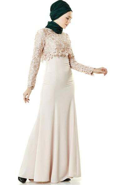 Fashion Night Güpür Detaylı Abiye Elbise-Pudra 2260-41
