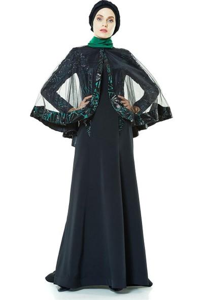 Nassah Pulpayetli Abiye Elbise-Yeşil BY211-21