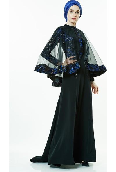 Nassah Pulpayetli Abiye Elbise-Saks BY211-47