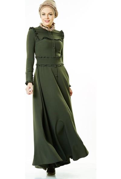 Nassah Fırfır Kemerli Elbise-Haki LR8280-27