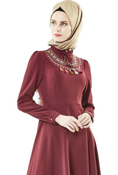 Nassah Önü İşlemeli Kloş Elbise-Mürdüm LR8279-51