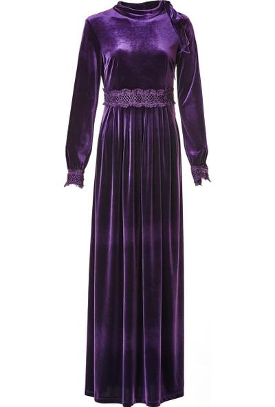 Nassah Kadife Dantel Detaylı Elbise-Mor LR8284-45