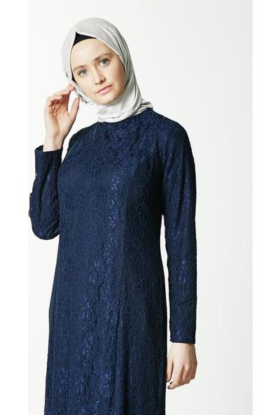 Fashion Night Güpürlü Abiye Elbise-Lacivert 4182-17