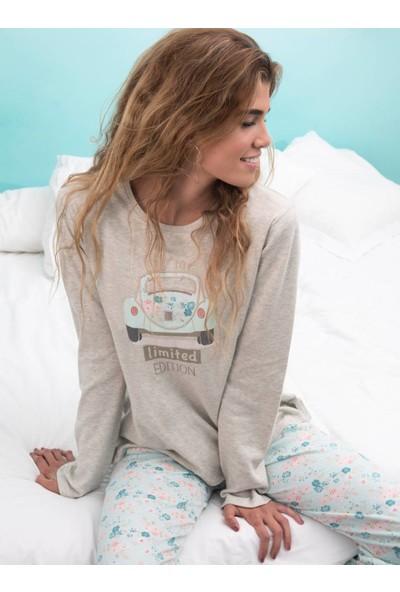 Ayyıldız 50558 Yuvarlak Yaka Uzun Kollu Pijama Takımı Bej