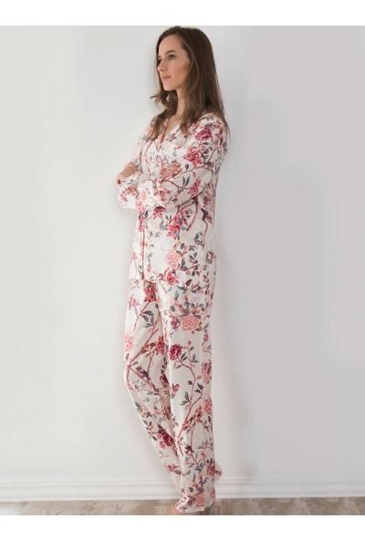 Ayyıldız 50580 Önden Düğmeli Pijama Takımı Bej
