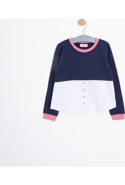 Soobe Kız Çocuk Uzun Kol T-Shirt Lacivert