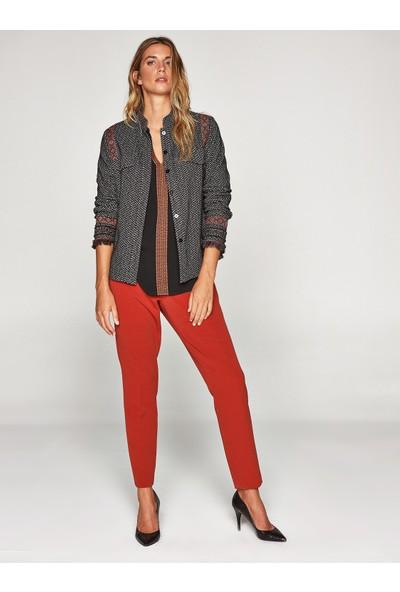 Faik Sönmez Kadın Şeritli Desenli Ceket 37714