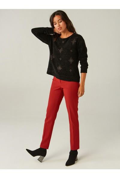 Faik Sönmez Kadın Taş İşlemeli Sweatshirt 37565
