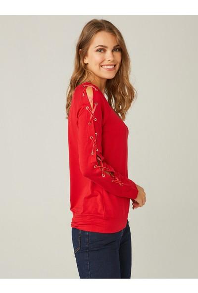 Faik Sönmez Kadın Kuşgözü Detaylı Sweatshirt 37570