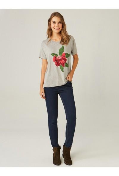 Faik Sönmez Kadın Baskılı Kısa Kollu T-Shirt 37760