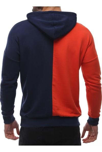 Madmext Kapüşonlu Baskılı Sweatshirt Turuncu 2754
