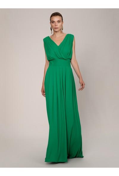 Roman Göğüs Detaylı Yeşil Abiye Elbise