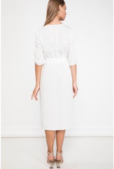 Defacto Kadın Düğme Detaylı Elbise
