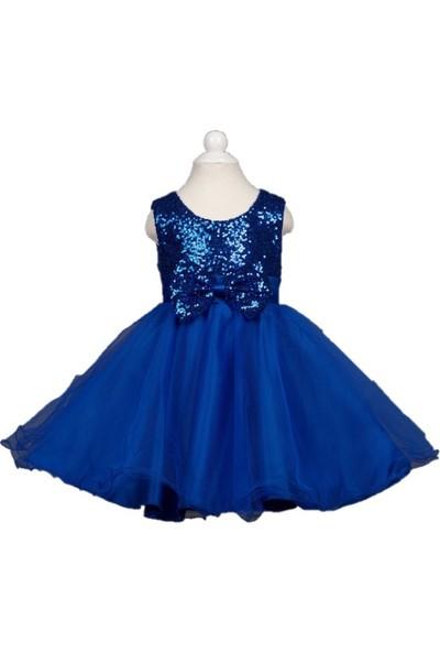 Butikhappykids Kız Çocuk Saks Mavi Payetli Kısa Kabarık Prenses Elbisesi