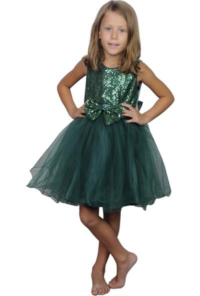 Butikhappykids Kız Çocuk Zümrüt Yeşili Payetli Kısa Kabarık Prenses Elbisesi