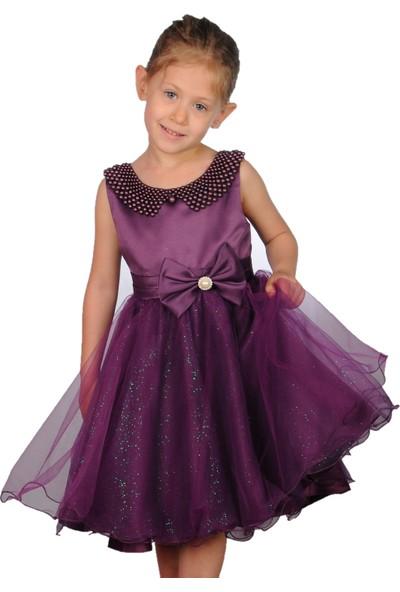 Butikhappykids Kız Çocuk Abiye Mor İncili Tokalı Abiye Elbise