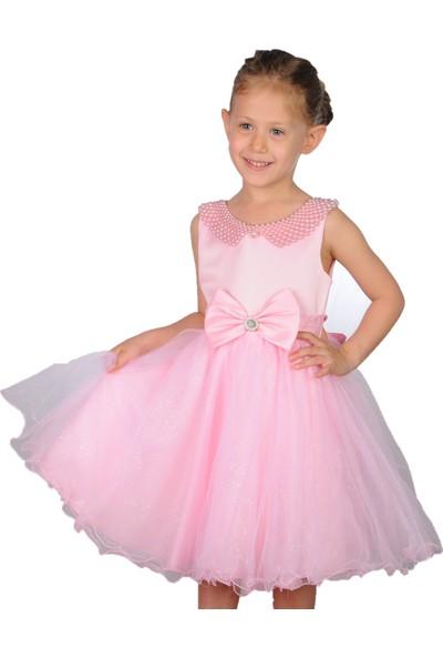 Butikhappykids Kız Çocuk Abiye Pembe İncili Tokalı Abiye Elbise