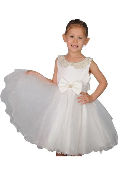 Butikhappykids Kız Çocuk Abiye Beyaz İncili Tokalı Abiye Elbise
