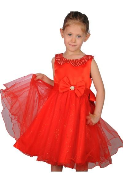 Butikhappykids Kız Çocuk Abiye Kırmızı İncili Tokalı Abiye Elbise