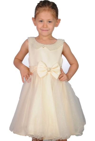 Butikhappykids Kız Çocuk Abiye Krem İncili Tokalı Abiye Elbise