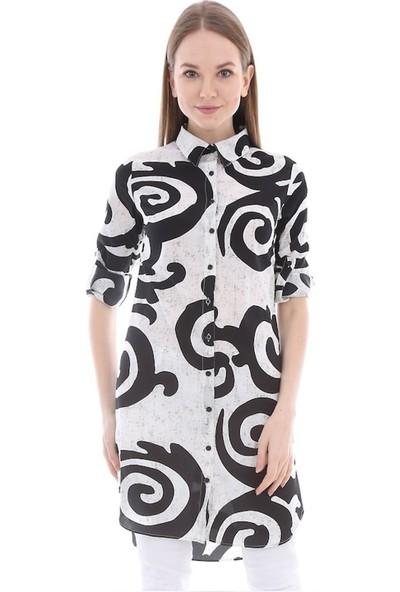 Marcoroni Geometrik Desen Siyah Tunik