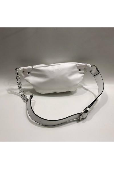 Nas Beyaz Renk Bel Çantası Zincir Askılı Ebat 30Cm15Cm