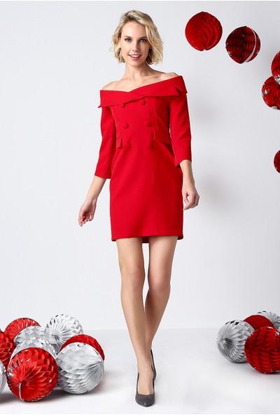 İroni Geniş Yakalı Kırmızı Blazer Elbise - 5153 - 891 Kırmızı