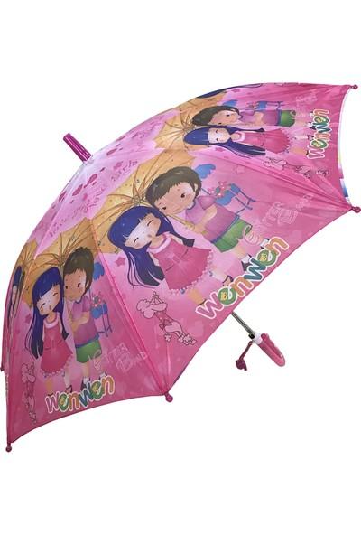 Balonpark Kız Çocuk Şemsiyesi Wenwen Çizgifilmi Karakterli Şemsiye