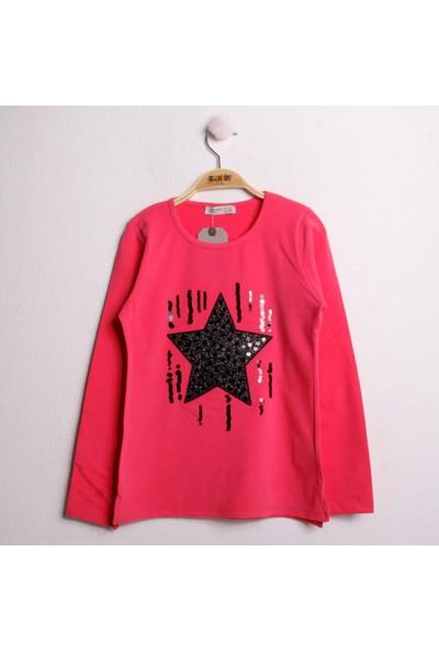 Toontoy Kız Çocuk Sweatshirt Simli Pullu Yıldız Nakış - Fuşya - 10 Yaş - 140Cm Boy