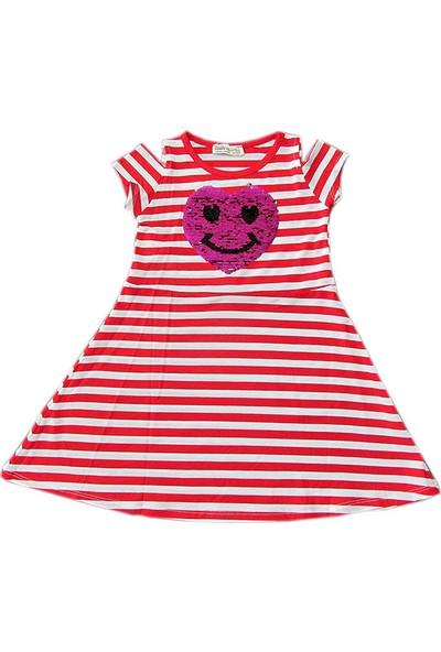 Kidsmadamiko 8855 Emoji Kalp Kız Çocuk Elbise Kırmızı